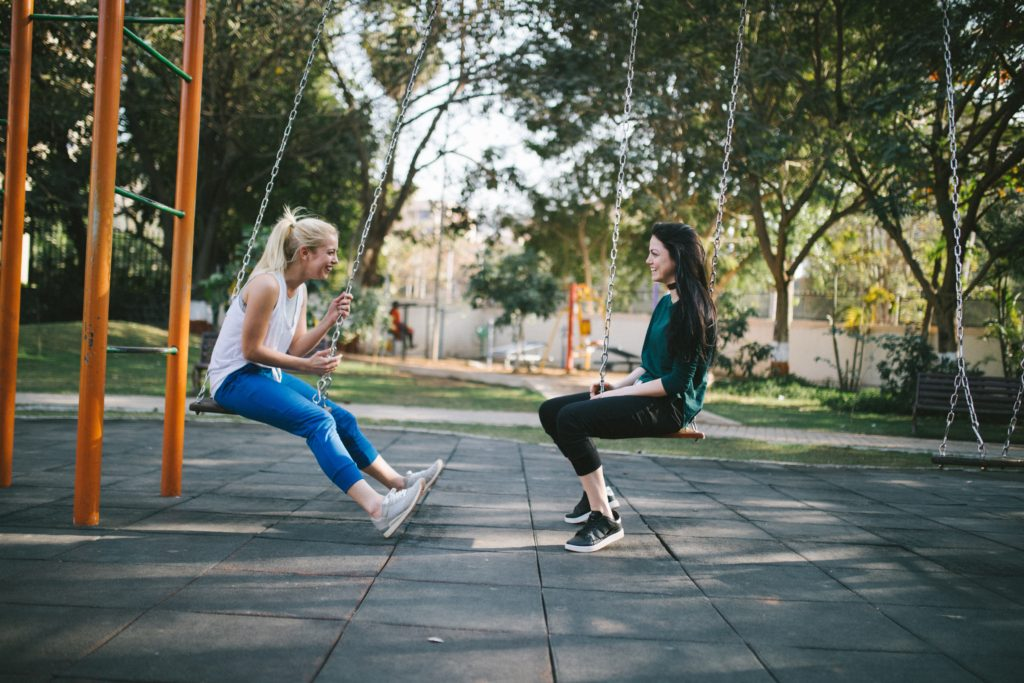 Women talking and swinging back and forth. </p> <p>Yes, And Improv Rule</p> <p>Photo by Bewakoof dot com Official at Unsplash